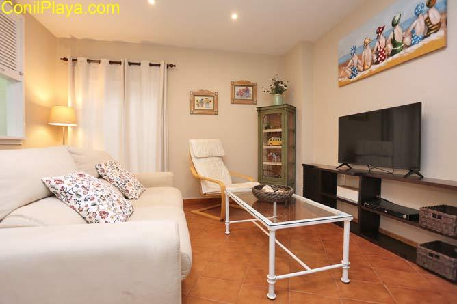 salón con sofá butaca y televisión