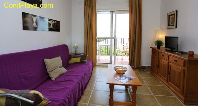 salón con sofá y al fondo la terraza
