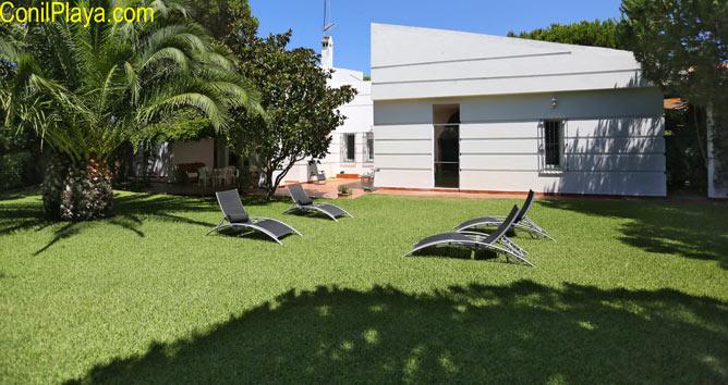 Amplio jardin con cesped