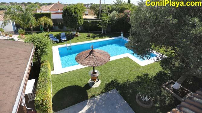 vista desde la azotea del jardín y la piscina