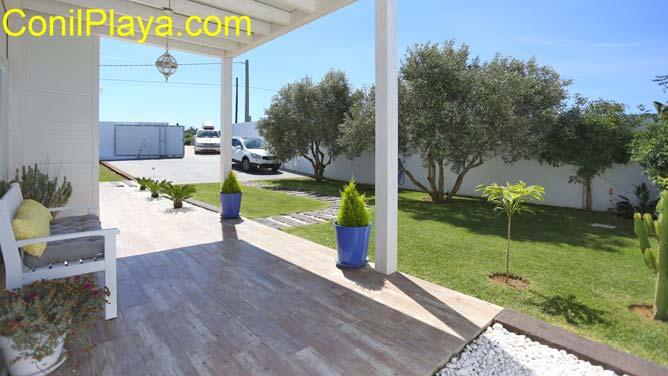 jardín con césped y olivos