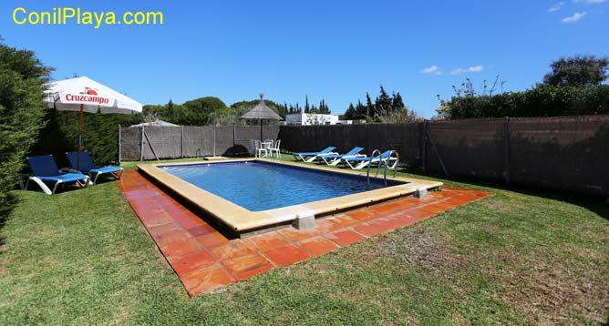 piscina con césped