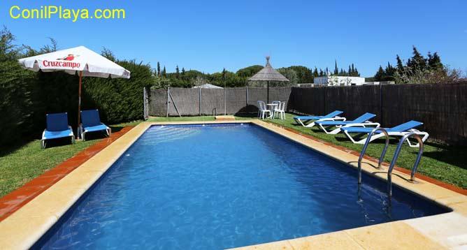 piscina con tumbonas y sombrillas