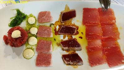 Plato surtido de atún rojo de almadraba de Restaurante la Fontanilla