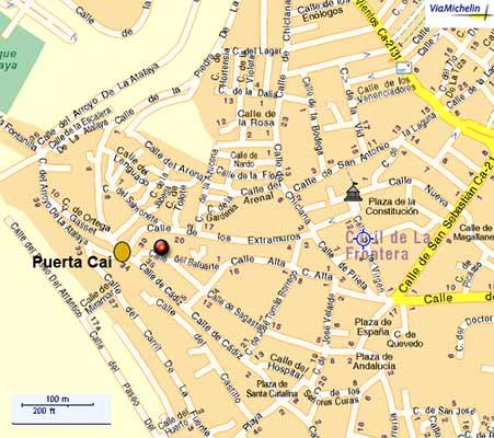 Mapa indicando la puerta de Cadiz.
