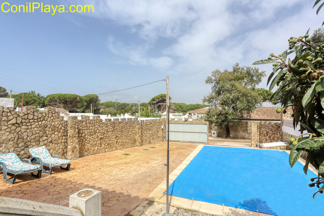 piscina privada con césped