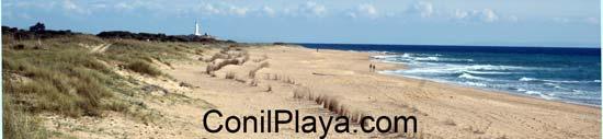 Playa de la Mangueta, al fondo el faro de Trafalgar. Marzo de 2007. Esperemos que dure mucho tiempo así.